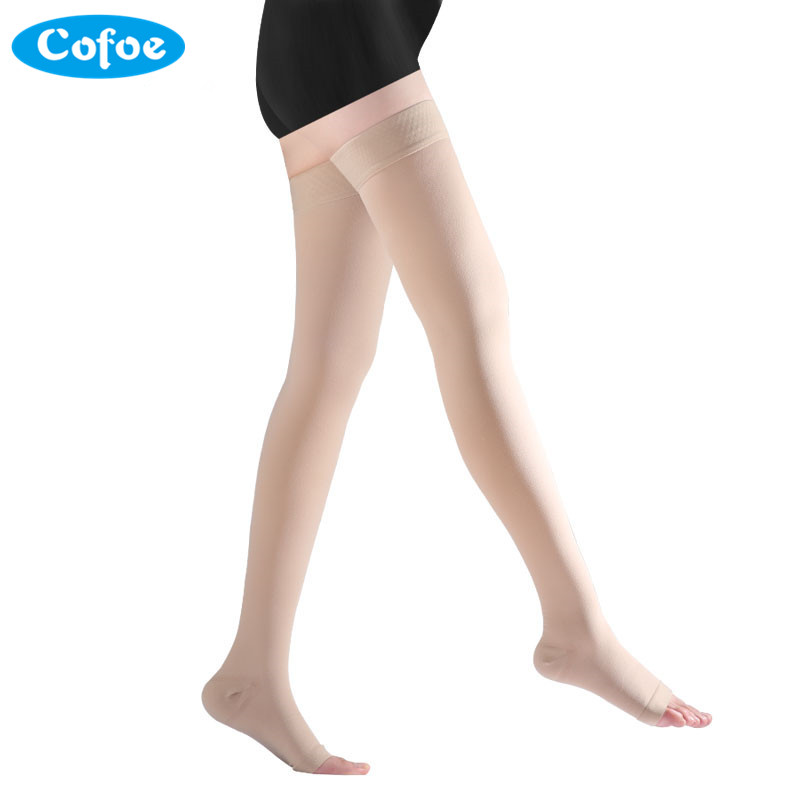 Cofoe A Pair Compression Stockings Varicose Veins 34-46mmHg Pressure Level 3 mid-Calf length Medical Socks for Beautiful Women ombre circle calf length socks