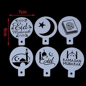 Image 2 - 6 adet Eid Mubarak ramazan kahve baskı şablon sprey şablon seti DIY fondan kek bisküvi dekorasyon araçları