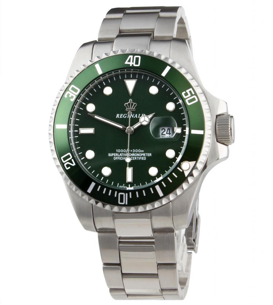 Luxury Reginald Watch font b Men b font Rotatable Bezel GMT Sapphire Glass Date Stainless Steel