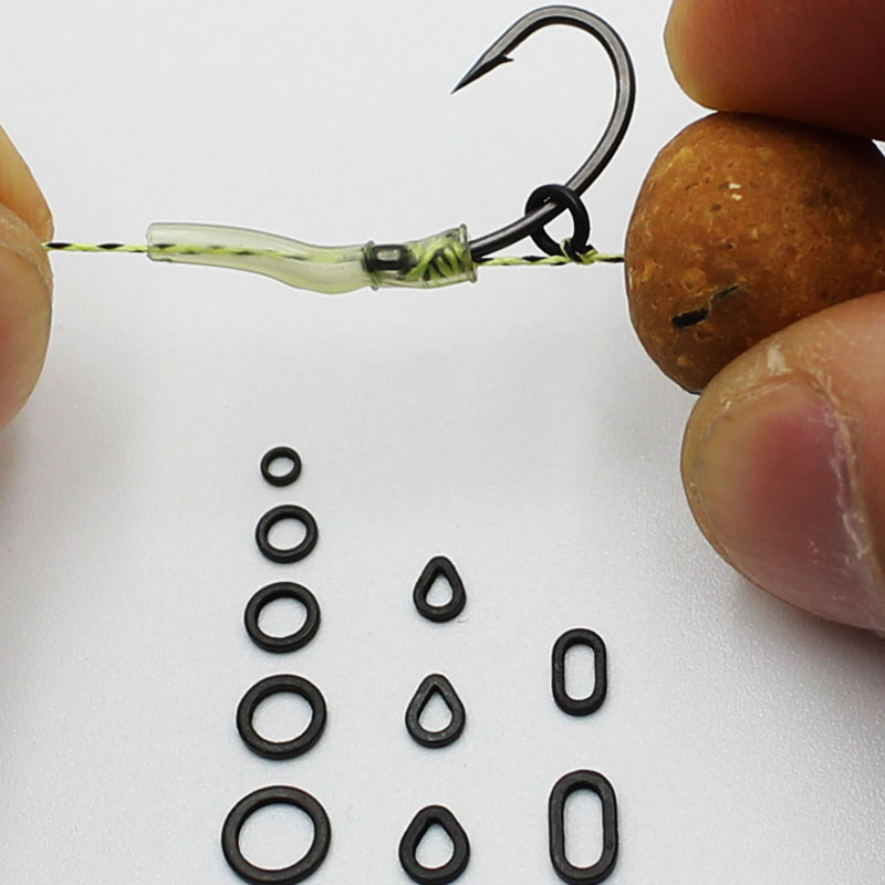 50PCS Carp Fishing Accessories Rig Rings Round Oval Tear Drop Hair Rig Blow Back Rig Micro Ring Terminal End Tackle Equipment
