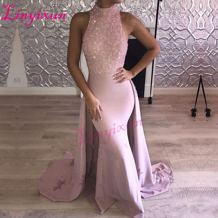 Linyixun 2018 Pink Mermaid Prom Dresses with Beads Lace Appliques Sleeveless Figure-flattering  Floor Length Evening Dress Gowns