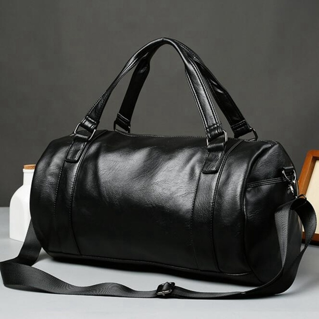 Large Capacity Waterproof Travel Bag New 2018 Vintage Men's Leather Travel Duffel Bags Pu Leather Black Handbag Men
