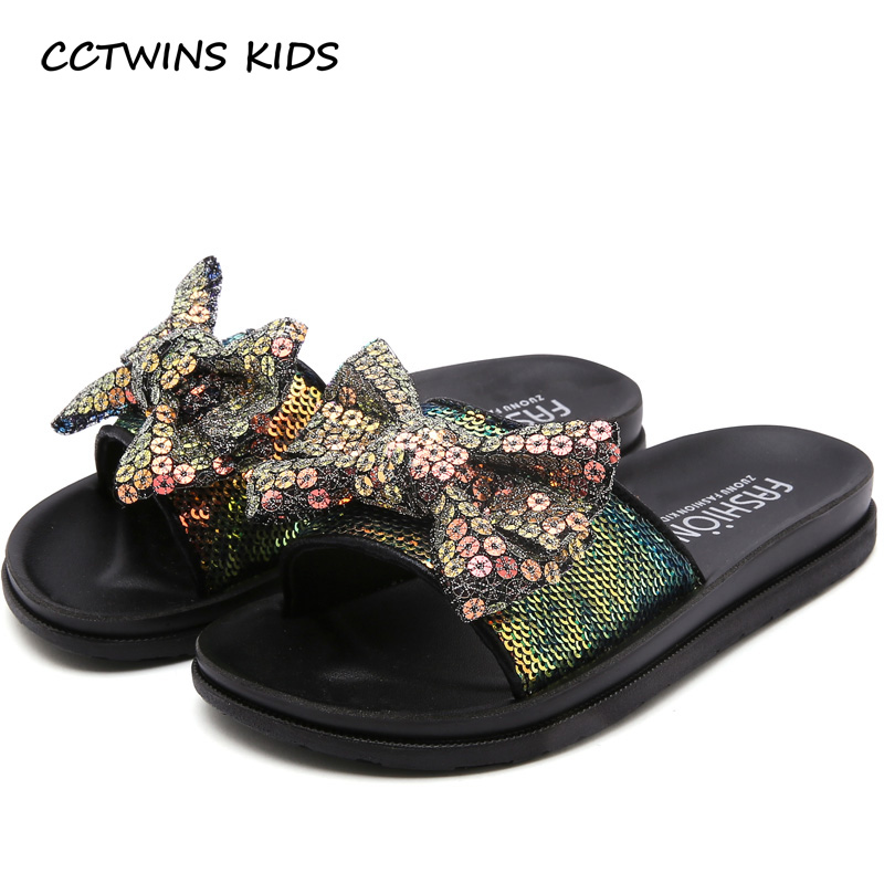 Cctwins Kids Shoes 2019 Summer Fashion Girls Princess Bow Tie Beach Sandals Baby Toddler Casual Glitter Slip On Slippesr Sd002 Unequal In Performance Mother & Kids