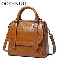 OCEHNUU 2017 Vintage Women Messenger Bags Genuine Leather Handbags Female Luxury Brand Real Leather Handbags Crossbody Fashion