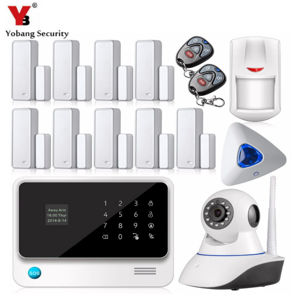 YobangSecurity WiFi Alarm System Android IOS APP Indoor Strobe Siren Wireless Wired GSM Home Security Alarm Systems with Camera yobangsecurity 2016 wifi gsm gprs home security alarm system with ip camera app control wired siren pir door alarm sensor