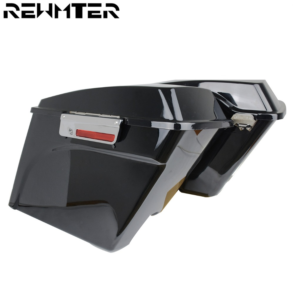 Motorcycle 5 Vivid Stretched Extended Hard Saddlebags Black For Harley Touring Road King 1993 2013 Softail Sportster Dyna Model