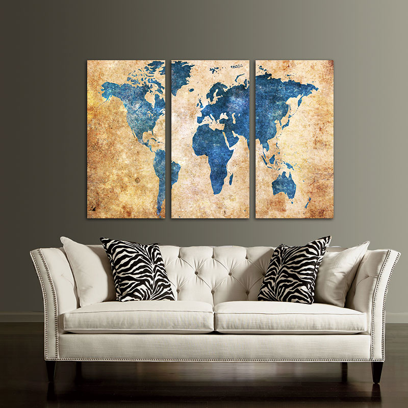 Wall Art Picture 3 Panel Vintage Prints World Map On Canvas Home Rhaliexpress: Canvas Home Decor At Home Improvement Advice