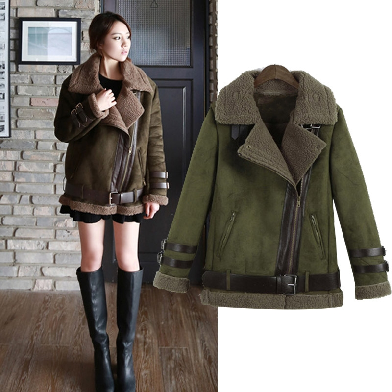 New 2016 Winter Women Shearling Coats Faux Suede Leather Jackets ...