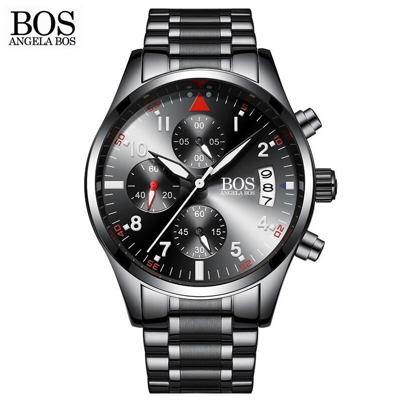 ФОТО ANGELA BOS Chronograph Timer Sub Dial Work Cool Black Watch Luminous Calendar Date Stainless Steel Luxury Watch Men Famous Brand