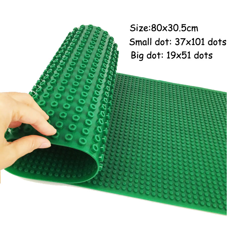 Double Sided Large Baseplate for Big dot and Small dot Silicone Base Plate Building Block Classic Brick Compatible Major Brand new big size 40 40cm blocks diy baseplate 50 50 dots diy small bricks building blocks base plate green grey blue
