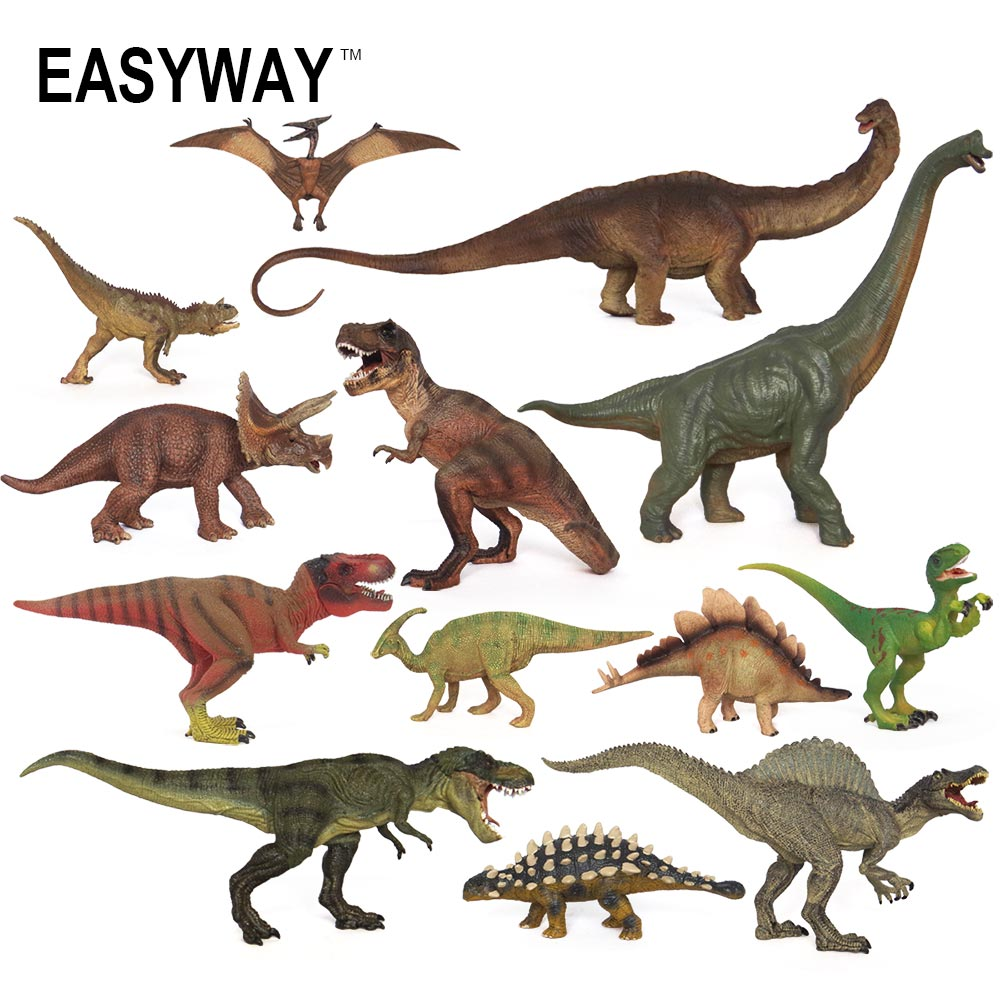 Easyway Real Life Mini Animals Dinosaurs Action Figure Model Set Jurassic Dinosaurus Toys For Children Boys T-Rex Kids Gift DIY 2 pcs set xl jurassic dinosaurs indominus rex and t rex gyrospheres