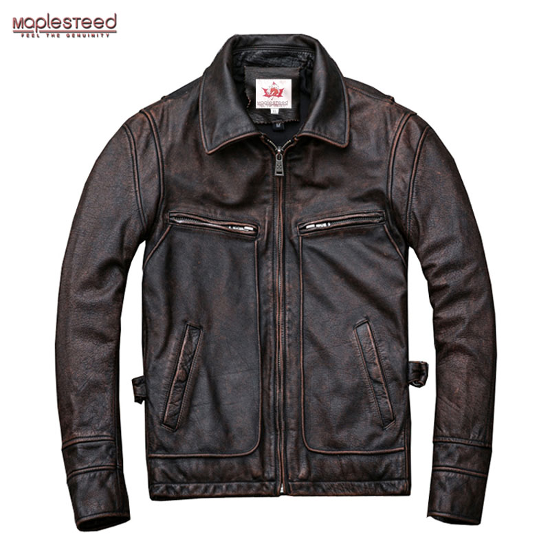 MAPLESTEED Brand Amekaji Motor Biker Style Men Leather Jacket Black Red Brown Cowhide Vintage Jackets Men Winter Coat 5XL M100