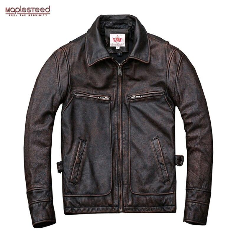 Maplesteed marca amekaji motor motociclista estilo masculino jaqueta de couro preto vermelho marrom do vintage jaquetas masculino casaco de inverno 5xl m100