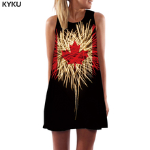 KYKU Maple Leaf Dress Women Psychedelic Sundress Canada Boho Black Korean Style Rock Party Womens Clothing Tassel New Cool