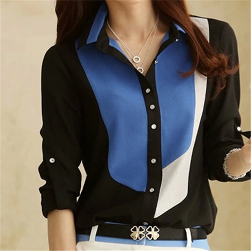 High Quality Women Blouses Patchwork Chiffon Blouse Shirt Women Tops Blusas Plus Size XXXL Long Sleeve Ttopical Blouse Shirts#B9