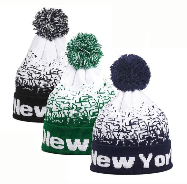 513762b1380 2018 new Men Women Baggy Warm Winter Wool Knit Ski gorros cap Beanie  Raccoon Pom Pom Hat For Women Skull Slouchy Caps Hat