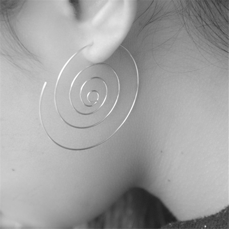 New Fashion Jewelry Gold/Silver Plated Spiral  Earrings Round aretes Simple Style Plugs Earrings for Women  E-503