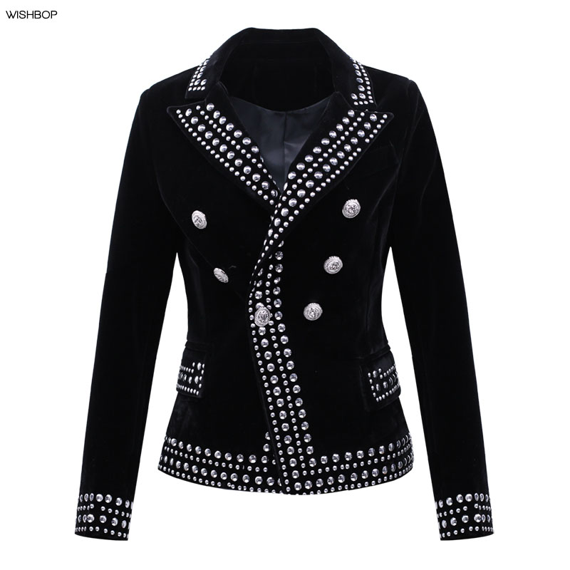 WISHBOP NEW 2017 Fashion Black Velvet Blazer Lapel Collar Silver Studded Embellished Front Double Breasted Button up Long Sleeve