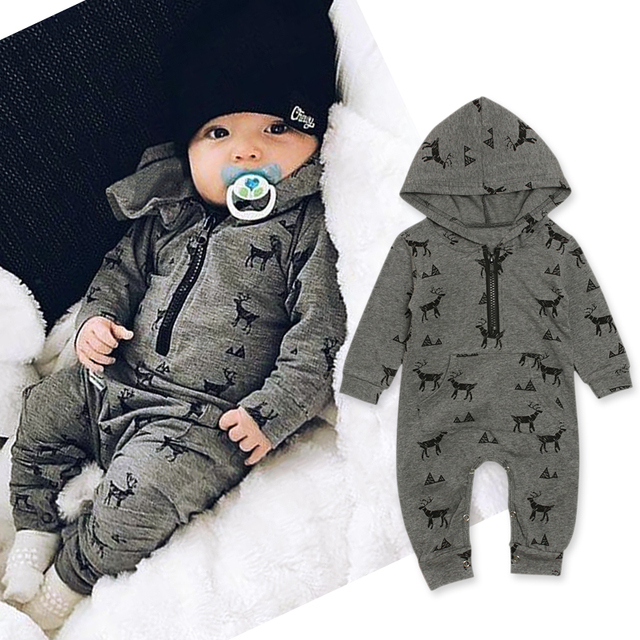 Rorychen Newborn Baby Boy Girls Deer Cartoon Christmas Rompers Babe Kids Cotton Cute Clothes Romper Hooded Jumpsuit Outfits