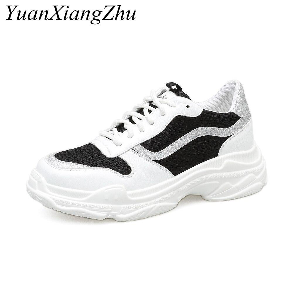 Cuir Mesh Marche En Femmes Mode Casual Véritable Plate up Lace 2018 De Sneakers Plat Noir Chaussures Femme forme blanc Harajuku v0qw8xZq