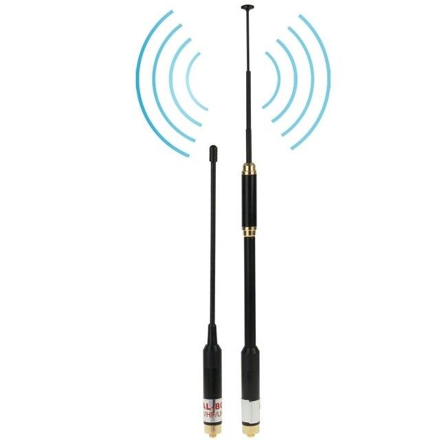 Walkie Talkie Антенны AL-800 Dual Band 144/430 МГц с Высоким Коэффициентом Усиления SMA-F Телескопический Ручной Радио Двойная Антенна, длина: 22 см/86 см
