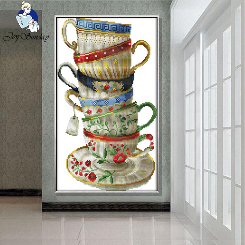 JOY SUNDAY,Needlework,DIY DMC Cross stitch,Sets For Embroidery kit Exquisite coffee cups home decoration Counted Cross stitching