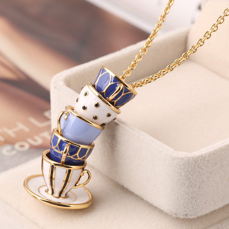 Europe and the United States Enamel Glaze Copper Fashion Kettle Women Necklaces ...
