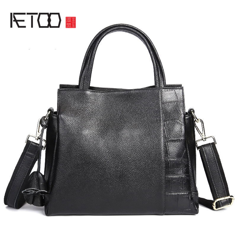 AETOO Autumn  winter new crocodile pattern Sue package leather handbag fashion wild shoulder bag first layer of leather handbag yuanyu new 2017 new hot free shipping crocodile women handbag single shoulder bag thailand crocodile leather bag shell package