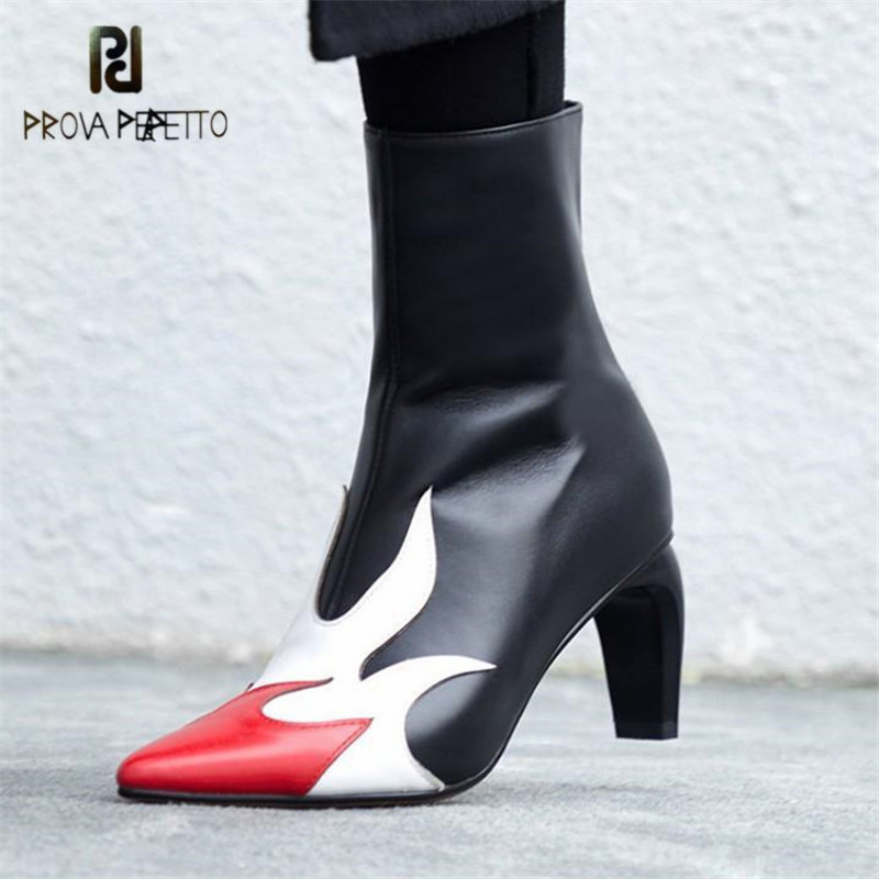 Prova Perfetto Retro Women Ankle Boots Genuine Leather Strange Heel Boots Fashion Runway Autumn Winter Botas Mujer High Heels