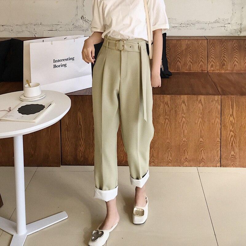 BGTEEVER Casual Sashes High Waist Straight   Pants   Women Female Work   Pants     Capris   2019 OL Elegant Trousers Femme pantalon