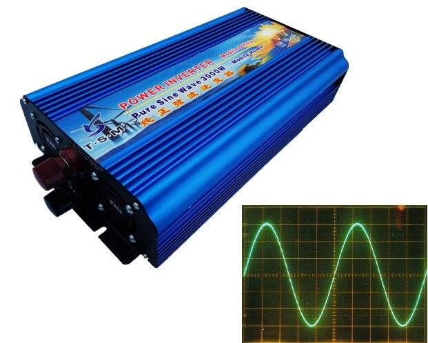 High power dual digital display 3000W Pure sine wave inverter dc12V/24V to ac120V/220V 50HZ/60HZ 6000W peak power