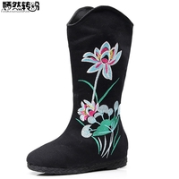 Chinese National Winter Women Boots Canvas Lotus Flowers Embroidered Mid Boots Ladies Black Booties Platforms Botas