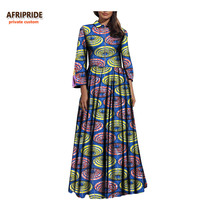 2019 spring&autumn long african dress for women AFRIPRIDE three quarter sleeve ankle length pleated dress for women A7225134