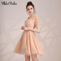Simple Elegant V neck Feather Lace Short Cocktail Dressses Party 2019 New Pink Semi Formal Dresses Plus Size