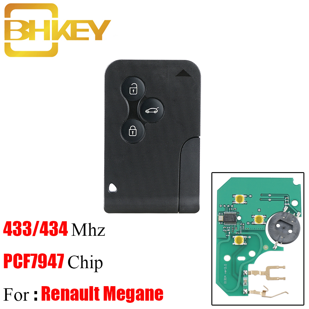 BHKEY 10pcs 3 Button 433Mhz PCF7947 Chip with Emergency Insert Blade Smart Remote Key For Renault
