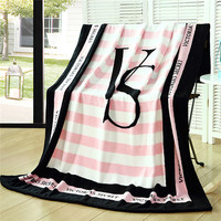 Spring Autumn Brand VS Secret Pink Coral Fleece Fabric Blankets Size 150 130cm Flannel Bedding Article