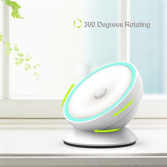 Parede Sensor De movimento Luz CONDUZIDA Da Noite com o Anoitecer Ao Amanhecer Sensor de Indução De 360 Graus de Rotação Inteligente Alimentado Por Bateria Luz Da Varanda