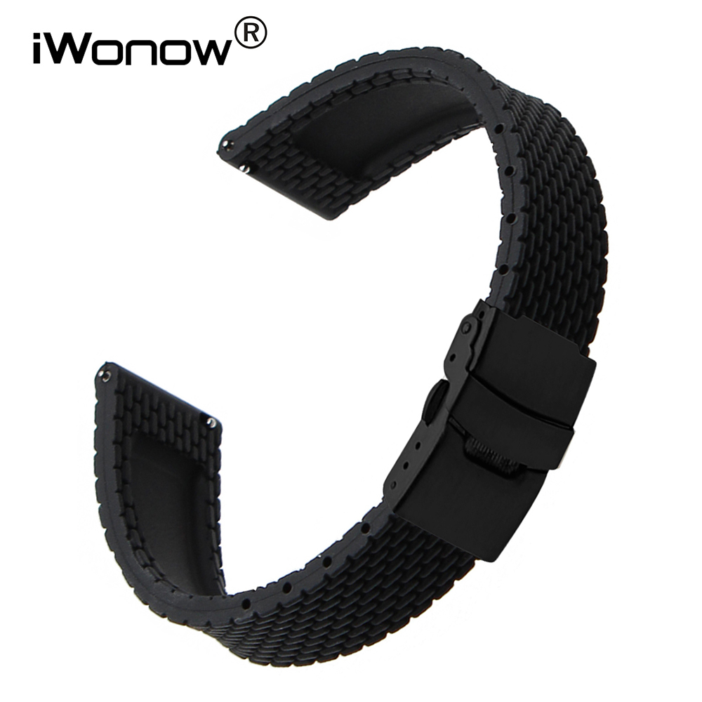 Quick Release Silicone Watchband 20mm 22mm for Samsung Galaxy Watch Active 42mm 46mm SM-R810/R800 Steel Clasp Band Rubber StrapQuick Release Silicone Watchband 20mm 22mm for Samsung Galaxy Watch Active 42mm 46mm SM-R810/R800 Steel Clasp Band Rubber Strap