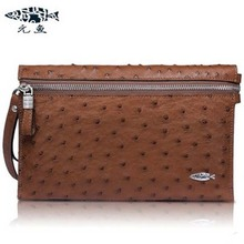 new men ostrich leather hand bag leather handbags long large purse high-grade hand caught