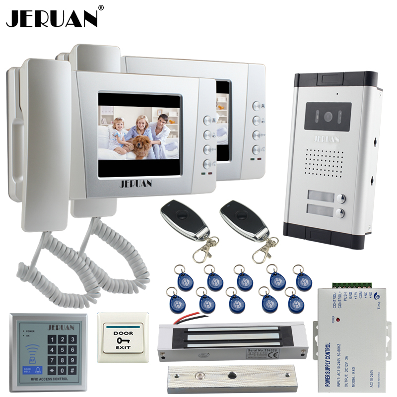 JERUAN Apartment 4.3`` Video Door Phone Intercom System kit 2 Monitor HD Camera RFID Entry Access Control 180KG Magnetic lock x6 rfid door entry system 180kg magnetic lock and u bracket for glass door