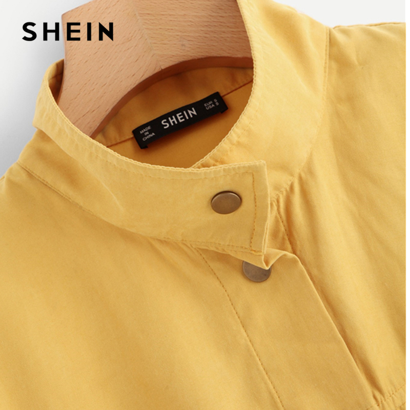 SHEIN Casual Yellow Button Pocket Front Stand Collar Single Breasted Plain Jacket Autumn Modern Lady Women Coat Outerwear 4
