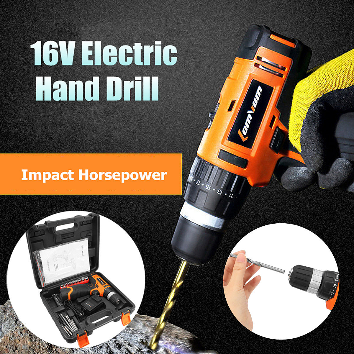 16V 1200rpm Electric Cordless Drill Driver Bits Lithium Battery Speed Hand Power Rechargeable Tool Screwdriver Kit Driver