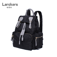 new arrival women nylon fashion backpack genuine leather patchwork womens casual backpack string open pattern backpack