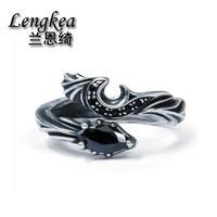 Lengkea jewelry men ring 925 sterling silver ring Devil wing black zircon opening men accessories women ring lovers' Gifts