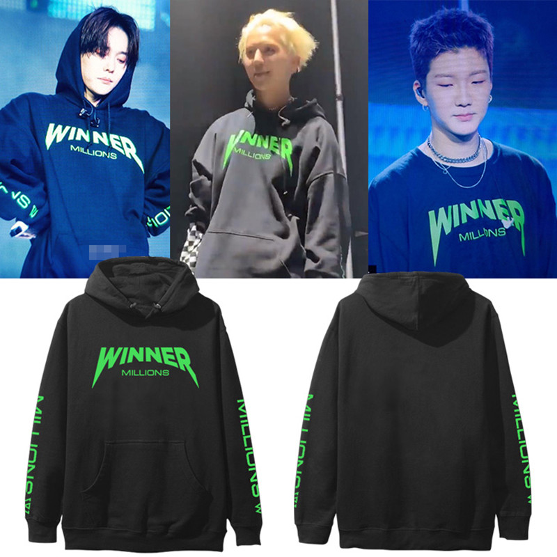 WXCTEAM Kpop Winner Everywhere Concert Cotton Pullover Sweatshirt Fashion Support Cap Hoodie Winter Fleece Outwear