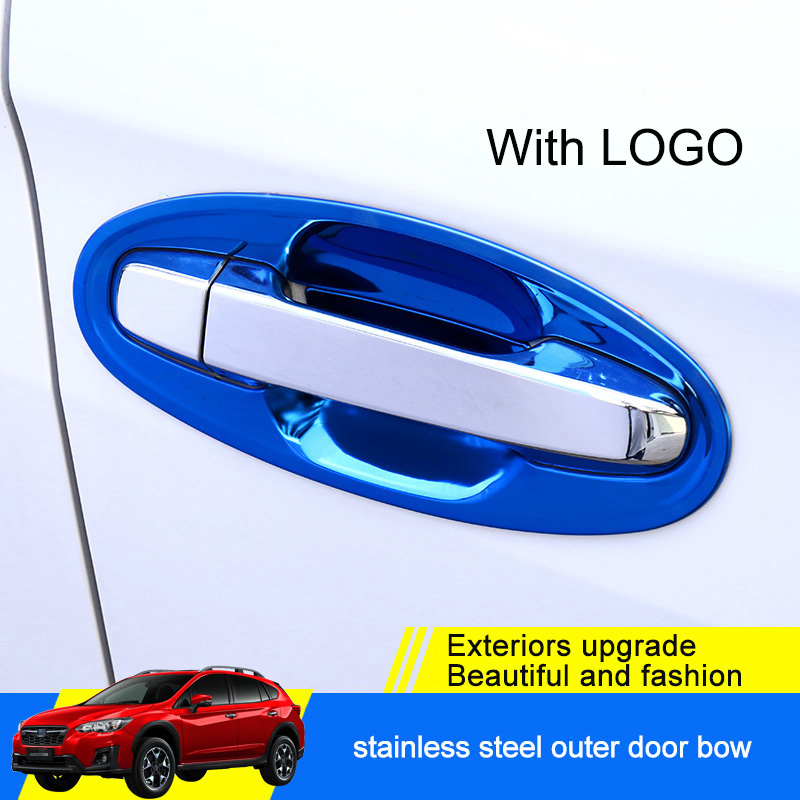 QHCP Exterior Door Handle Bowl Stickers Cover Protector Decoration 8Pcs Set Stainless Steel For Subaru XV