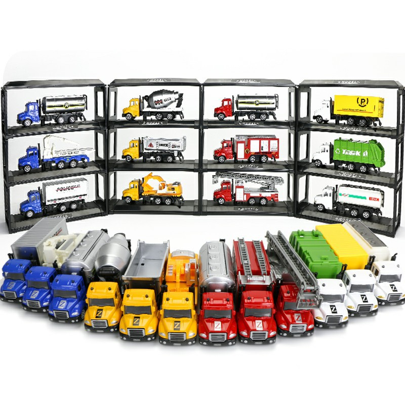 1 64 Mini Toys Cars Model Alloy Plastic Diecasts Engineering Car Model Display Stand Gift For