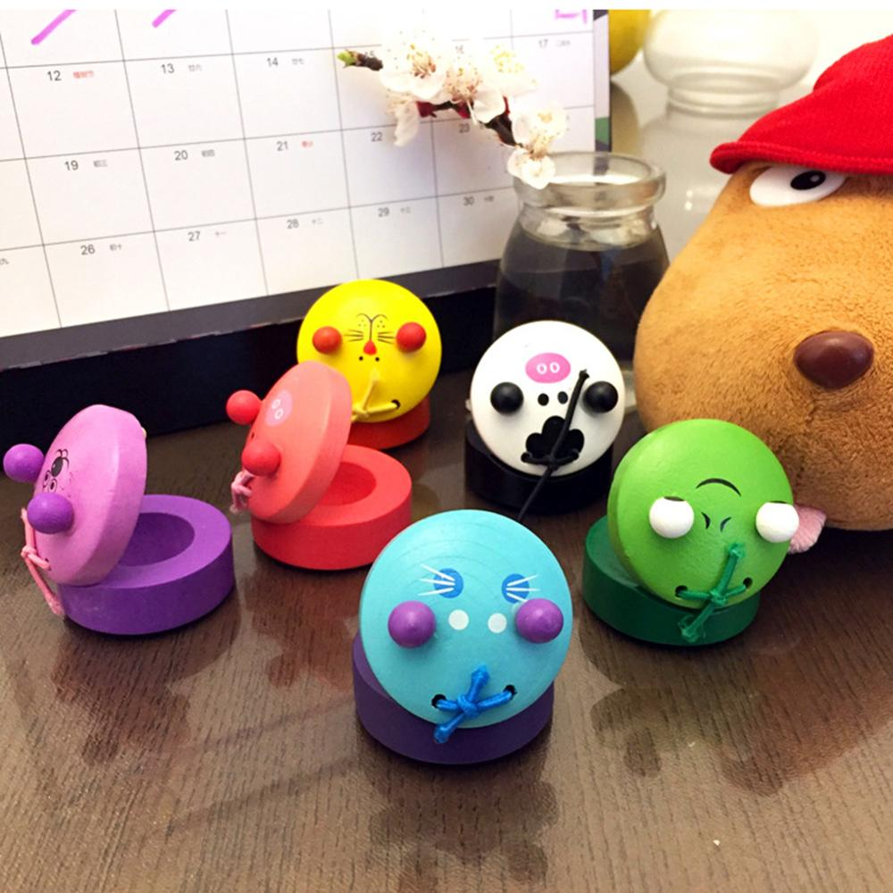 Baby Educational Toy Cartoon Kids Wooden Cartoon Animal Kids Intellectual Music Castanets Clapper Toy Xmas Gift Random Color