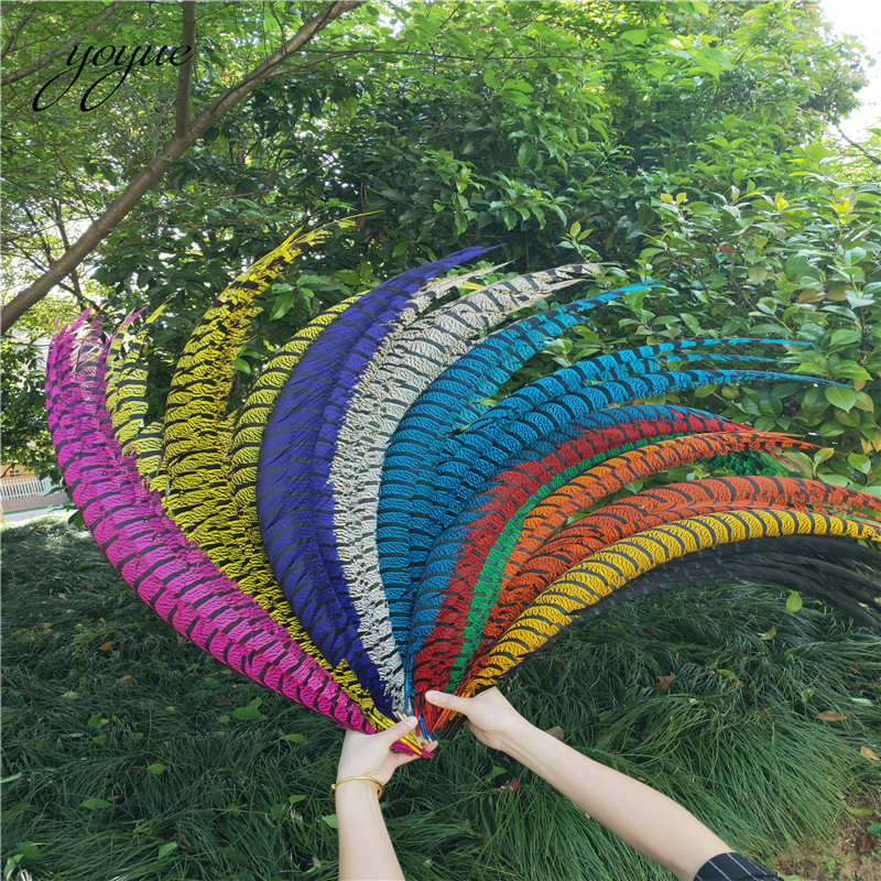 Wholesale 100 Pcs Natural Lady Amherst Pheasant Feathers 90 100CM 36 40inch jewelry Wedding Decorations Pheasant