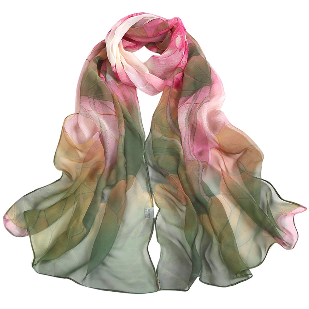 Scarf women flower thin silk scarf Long soft wrap scarf shawl veil Ladies' shawl 2019 Elegant long soft wrap scarf for women